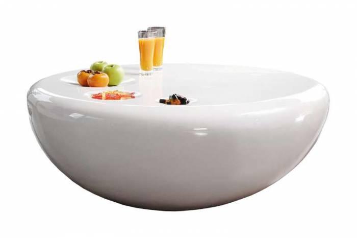 Masă de cafea Luna, 100 cm, fibră de sticlă, alb