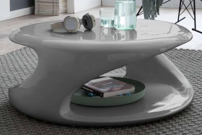Masă de cafea Mercure, 83x76x33 cm, fibră de sticlă, gri