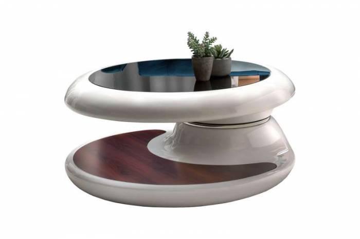 Masă de cafea Picard 90x90x42 cm, fibră de sticlă, alb