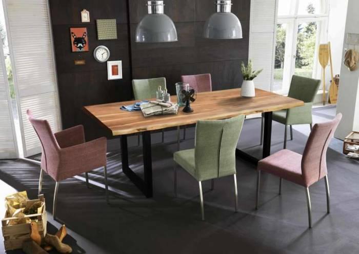 Masă de dining, lemn de acacia, 200x100x77 cm Freya Black