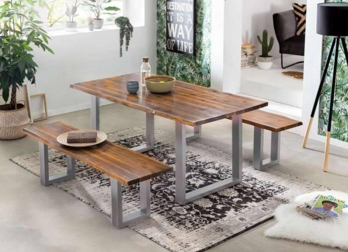 Masă de dining, lemn de acacia Hodder Silver 200x100cm