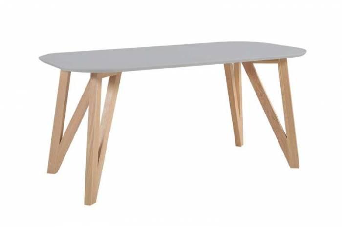 Masă dining stil scandinav Eysen 200x90x76 cm, stejar/MDF, gri