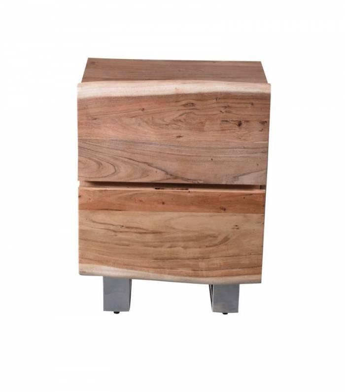 Noptieră cu 2 sertare Freya, 63x37x50 cm, acacia/ metal, maro/negru