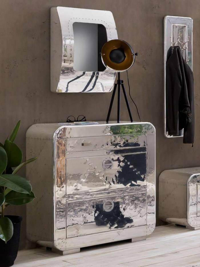 Oglindă în stil industrial Hangar 11, 65x17x47.5 cm, lemn/ aluminiu, argintiu