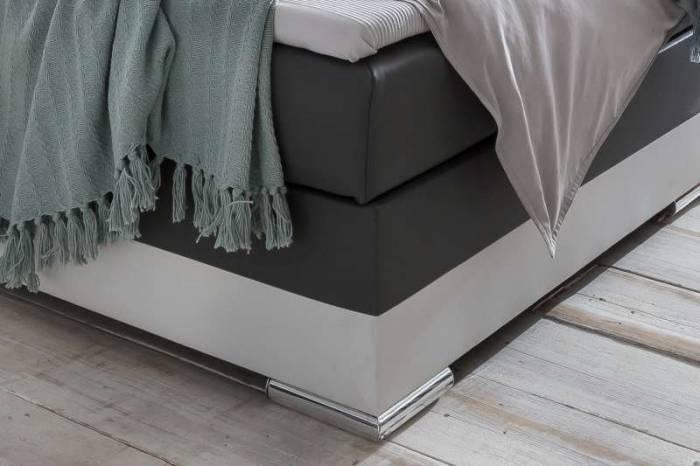 Pat box spring cu LED Charlton Grey, 180 x 200 cm, ecopiele, alb/gri
