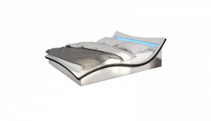 Pat tapițat cu ramă LED Stanis, 180 x 200cm, ecopiele, alb/negru