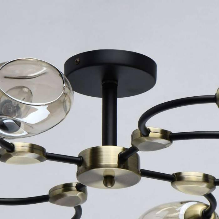 Plafonieră Abigail, 19x87 cm, metal/ sticla, negru
