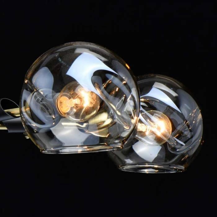 Plafonieră glob de sticlă Brittany, 28x69 cm, metal/ sticla, negru