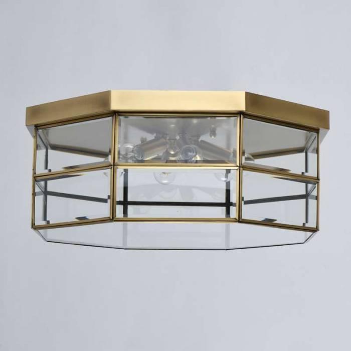 Plafonieră rotundă de exterior Kandace, 22x58 cm, alama/ sticla, alama