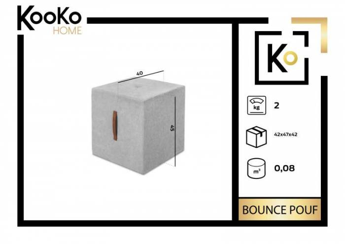 Puf Bounce, bej deschis, 40x40x45 cm