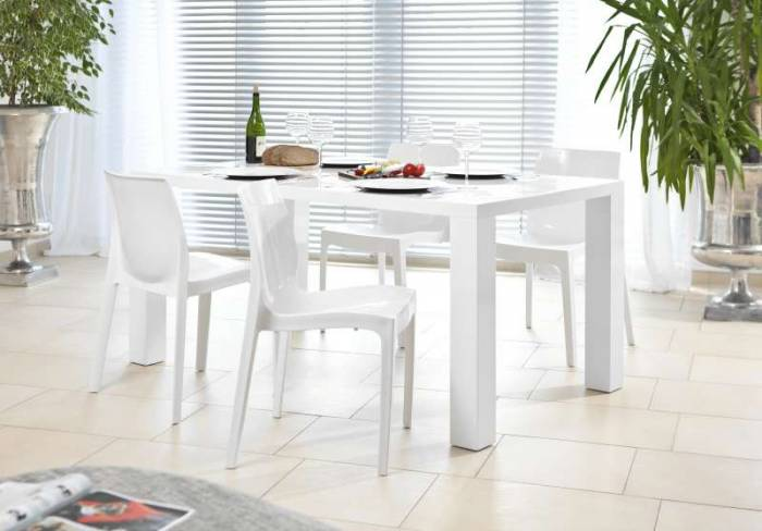 Scaun de dining Parson, plastic, alb