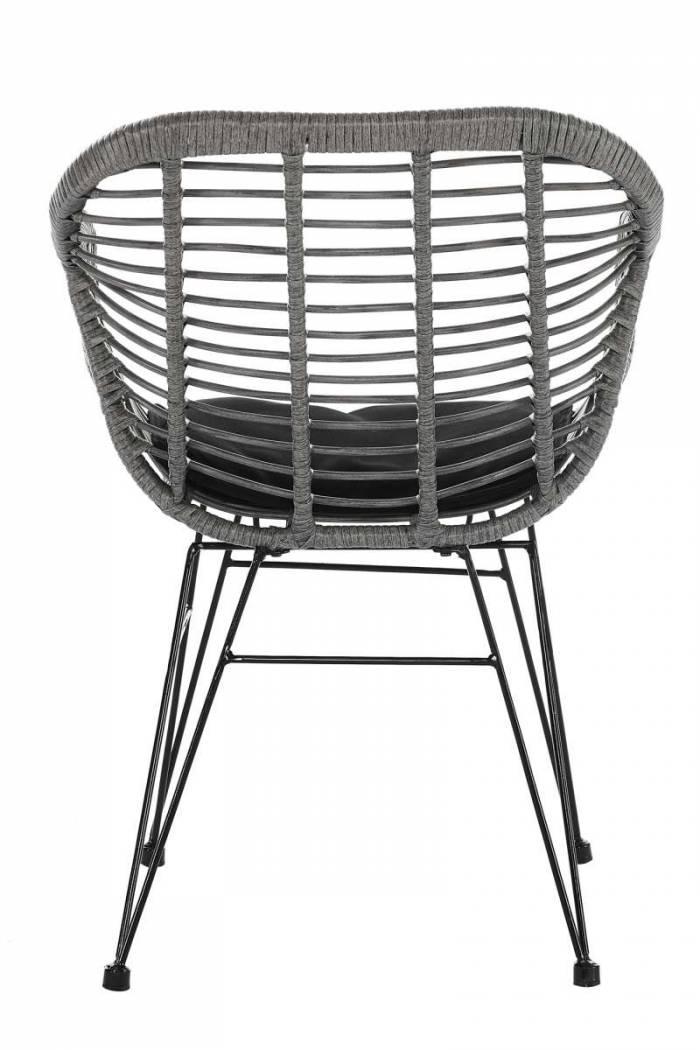 Set de 2 scaune de terasă Cadiz plastic/metal, gri