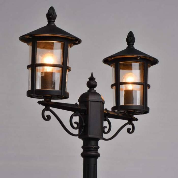 Stâlp de iluminat exterior cu 2 lămpi Carlo, 220x23x61.5 cm, aluminiu/ sticla/ metal, negru