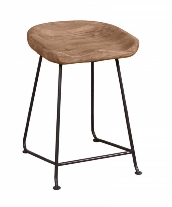 Taburet Brixton, 48x38x42 cm, acacia/metal, maro/ negru