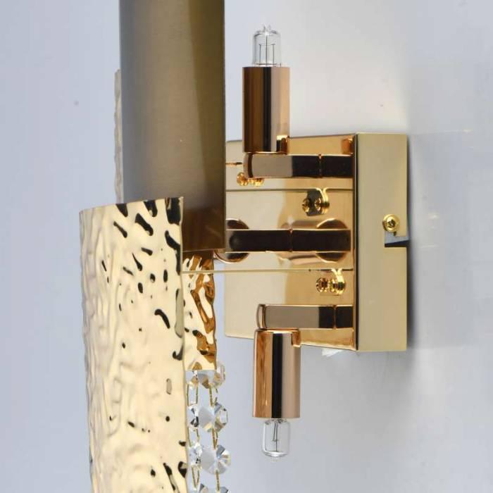 Veioză de perete Jesenia, 14x26x42 cm, metal/ cristal, auriu