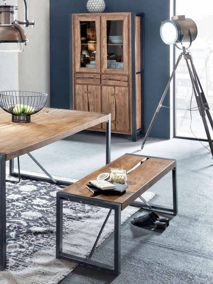 Vitrină living Brixton, 180x40x90 cm, acacia/metal, maro/ negru