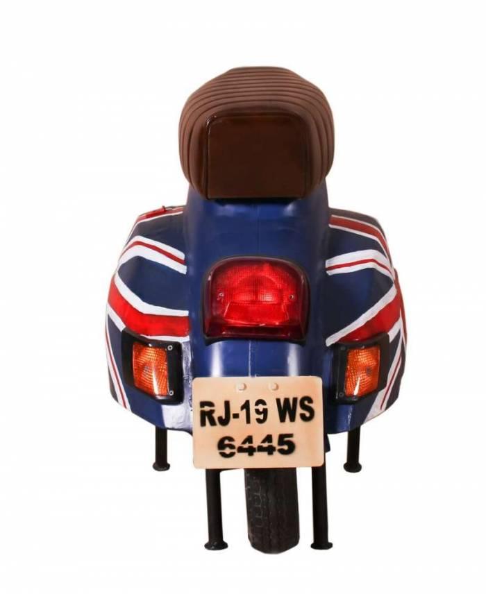 Scaun-banchetă de bar Brit, 68x53x110 cm, metal/ecopiele, albastru/alb/rosu