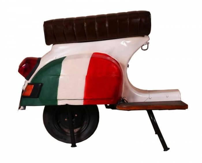 Scaun-banchetă de bar Italus, 68x53x110 cm, metal/ecopiele, alb/rosu/verde