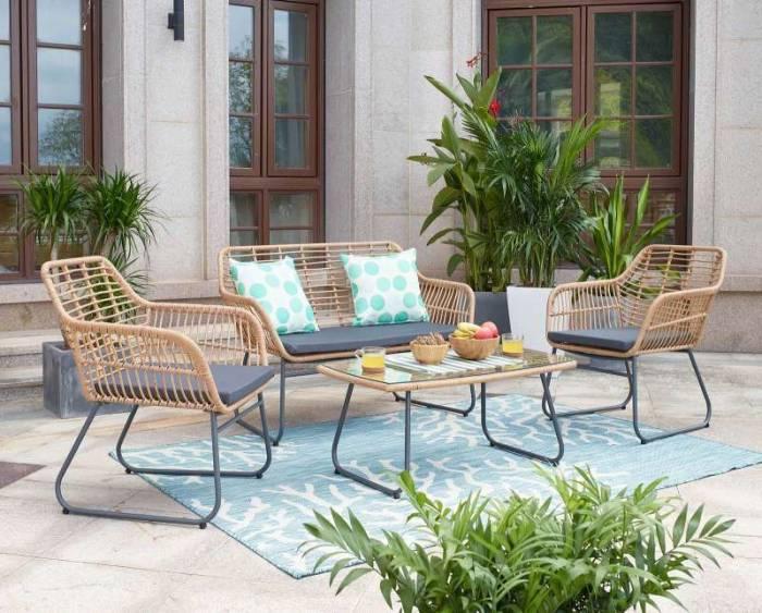 Set mobilier pentru grădină din ratan Aliza, ratan, maro