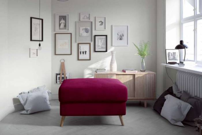 Taburet Asgard Pink, 45x75x77 cm, spuma/ lemn/ poliester/ pvc, roz