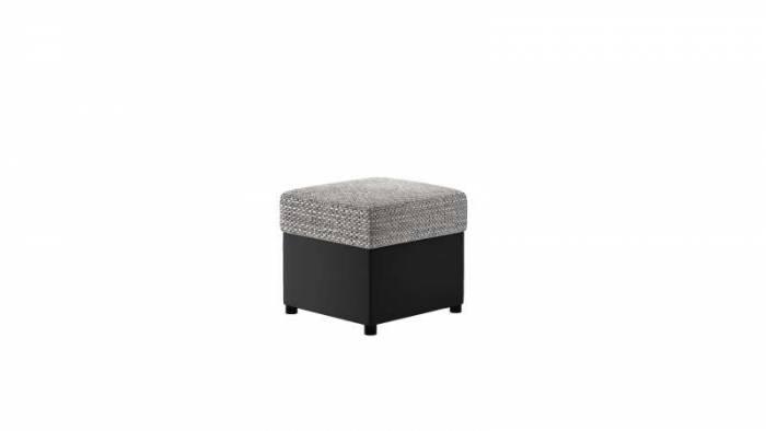 Taburet Lena R3 Black Grey, 40x45x45 cm, spuma/ lemn/ poliester/ plastic/ pvc, negru/ gri