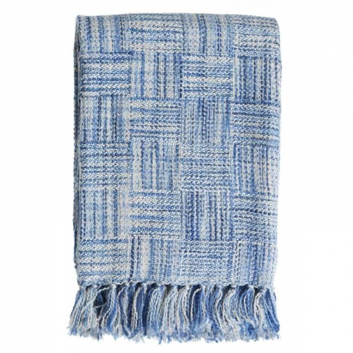 Pătură bumbac croșetată albastră Hokkaido Blue 130x170 cm