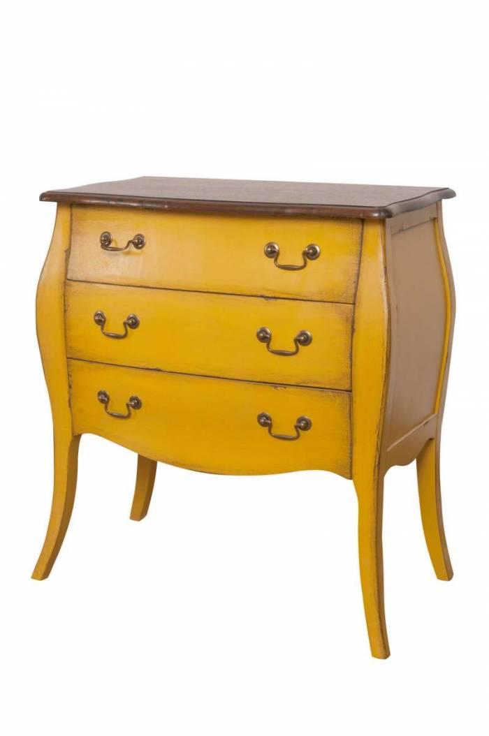 Noptieră cu trei sertare Jackeline  , 77x69x39 cm, lemn de plop/ mdf/ furnir/ metal, galben/ maro