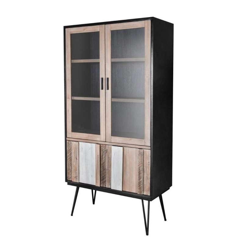 Vitrină cu patru uși Beth 195x100x45 cm lemn de acacia/ mdf/ metal gri/ negru