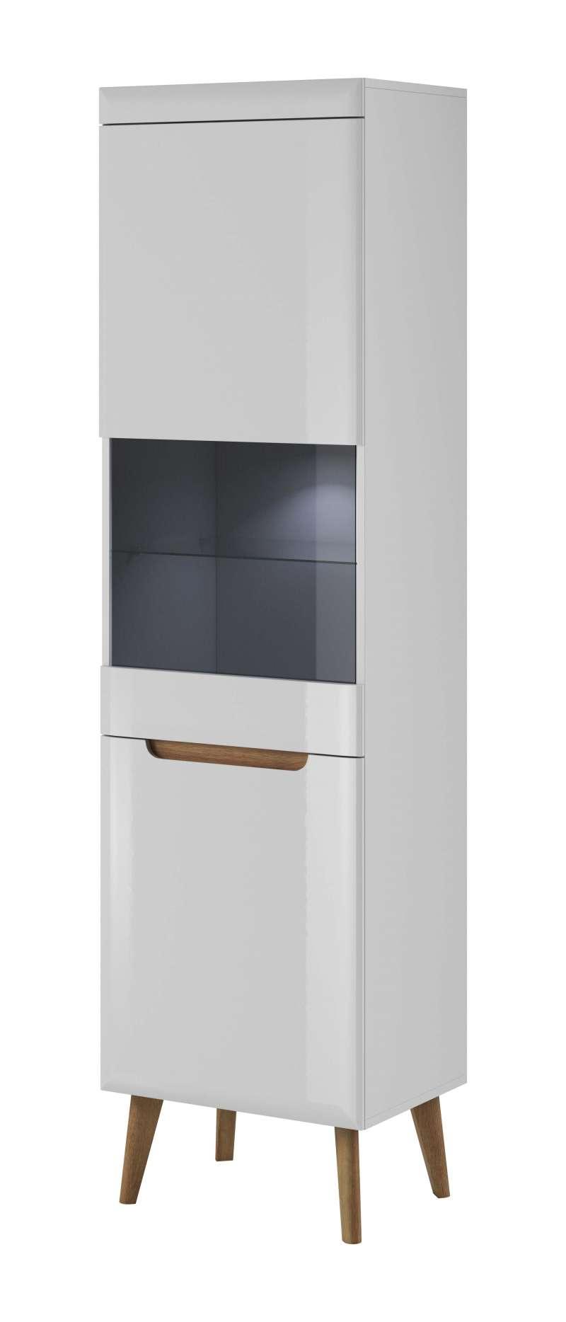 Vitrină înaltă cu uși Alix 197x53x40 cm pal/ mdf/ lemn de stejar/sticla maro/ alb