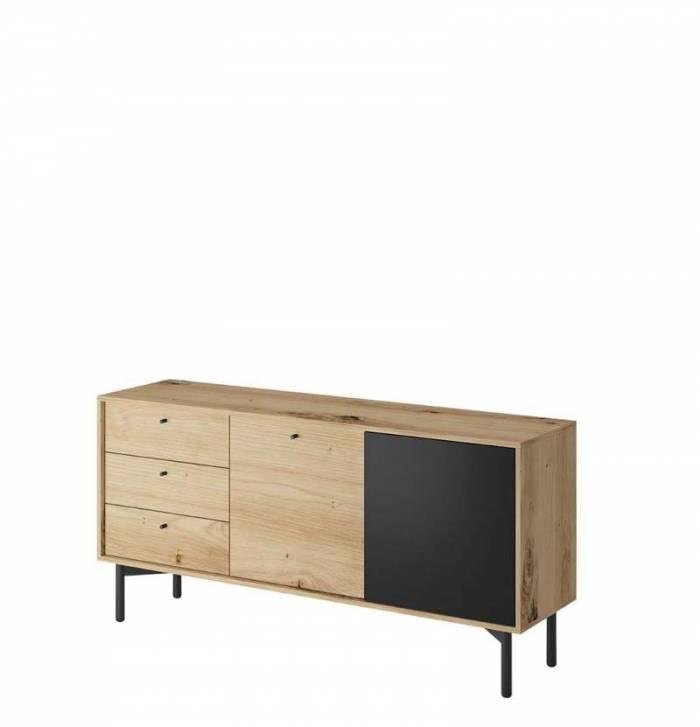 Bufet cu ușă și sertare Brooke, 74x151x41 cm, pal/ lemn/ metal, maro/ negru