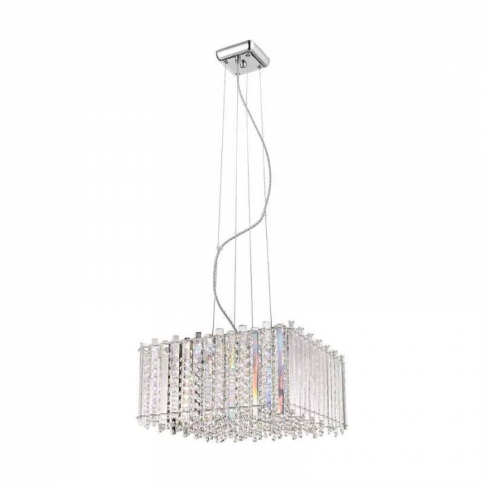 Candelabru cu cristale Melanie, 35-146x43x43 cm, metal/ cristal, transparent/ argintiu/ crom