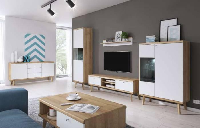 Comodă TV cu rafturi și sertare Andera, 50x160x40 cm, pal/ mdf/ lemn de stejar/ aluminiu, maro/ alb