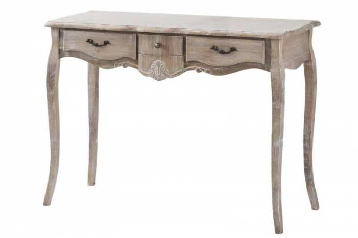 Consolă cu trei sertare Gilbert , 78x110x40 cm, lemn de plop/ mdf/ furnir/ metal, maro deschis