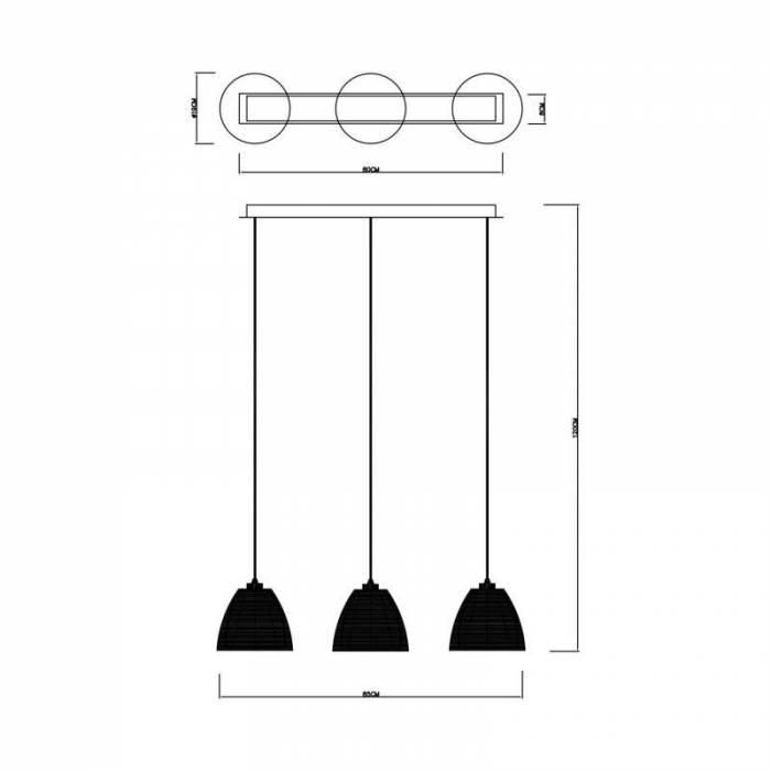Lustră pendul cu trei brațe Ozella, 120x19x85 cm, sticla/ aluminiu, argintiu/ crom