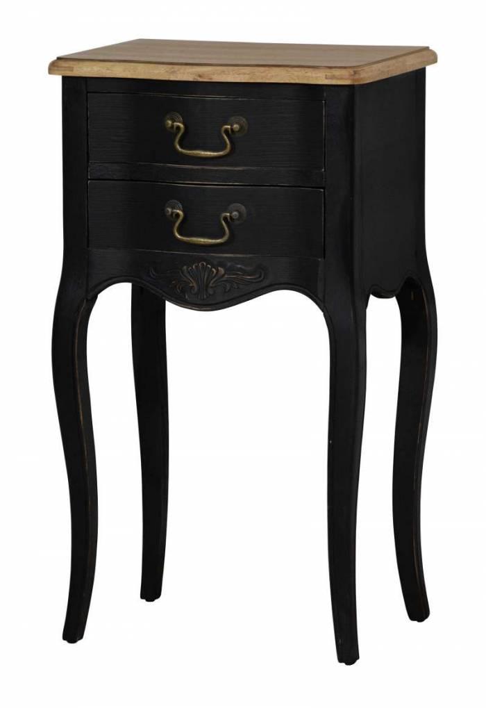 Noptieră cu două sertare Herminia, 75x43x31 cm, lemn de plop/ mdf, negru/ maro deschis
