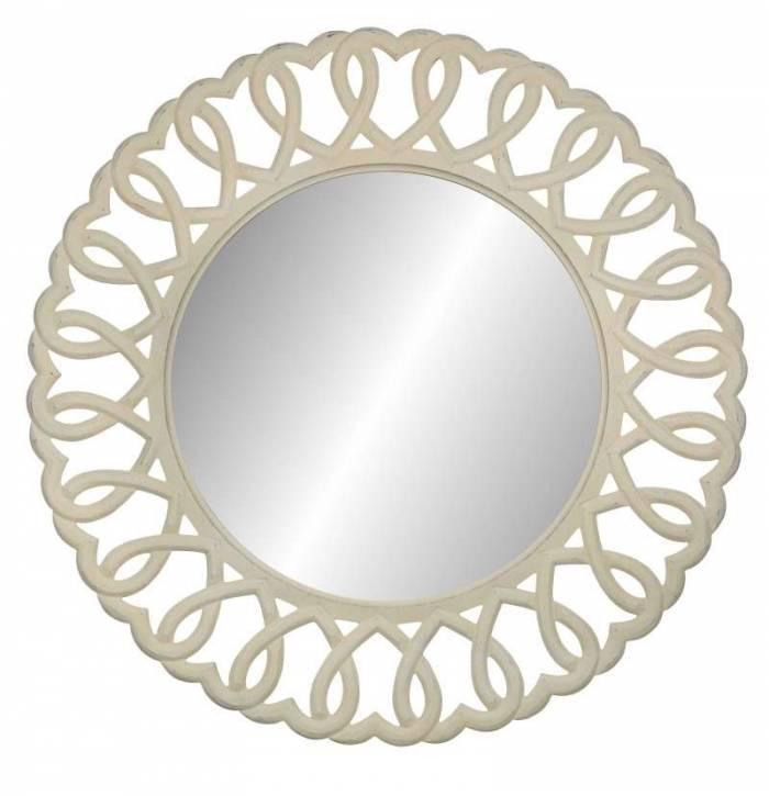 Oglindă de perete rotundă Adelaida, 91x91x2 cm, lemn de plop/ mdf, crem
