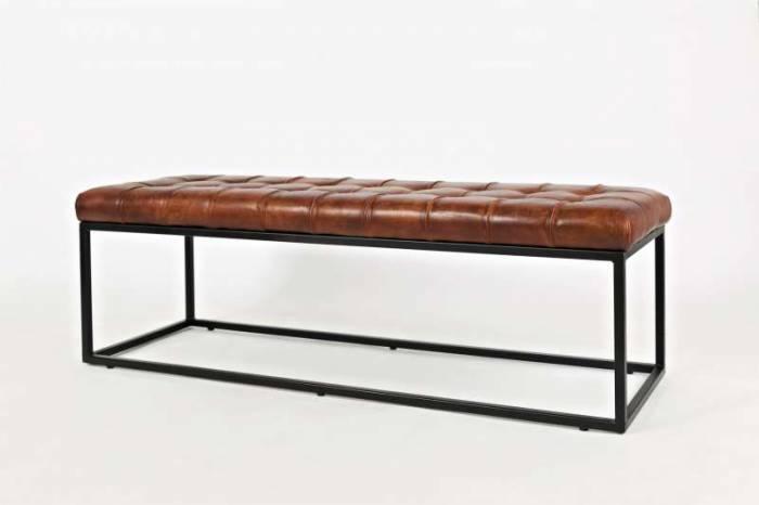 Banchetă Karan, 45x140x45 cm, metal/ piele, negru/ maro