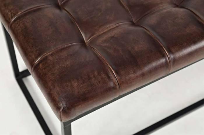 Banchetă Karan, 45x140x45 cm, metal/ piele, negru/ maro inchis