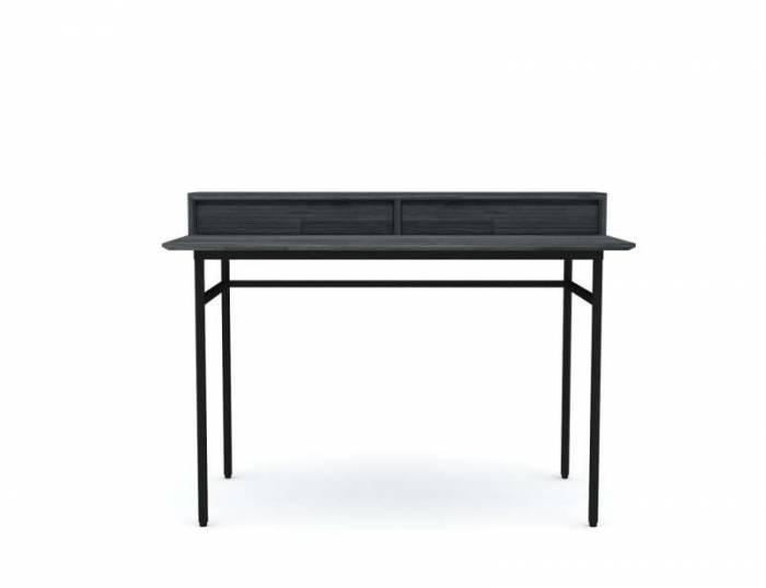 Birou cu două sertare Selena, 87x120x65 cm, lemn de acacia/ mdf/ metal, gri/ negru
