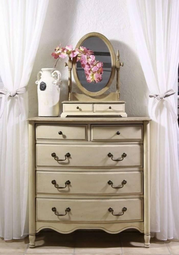 Comodă cu cinci sertare Ebonie, 90x89x50 cm, lemn de arbore de cauciuc/ furnir/ metal, ivoire/ maro