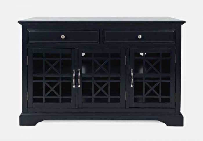 Comodă cu două sertare și trei uși Karan, 82x127x49 cm, lemn de acacia/ mdf, bleumarin