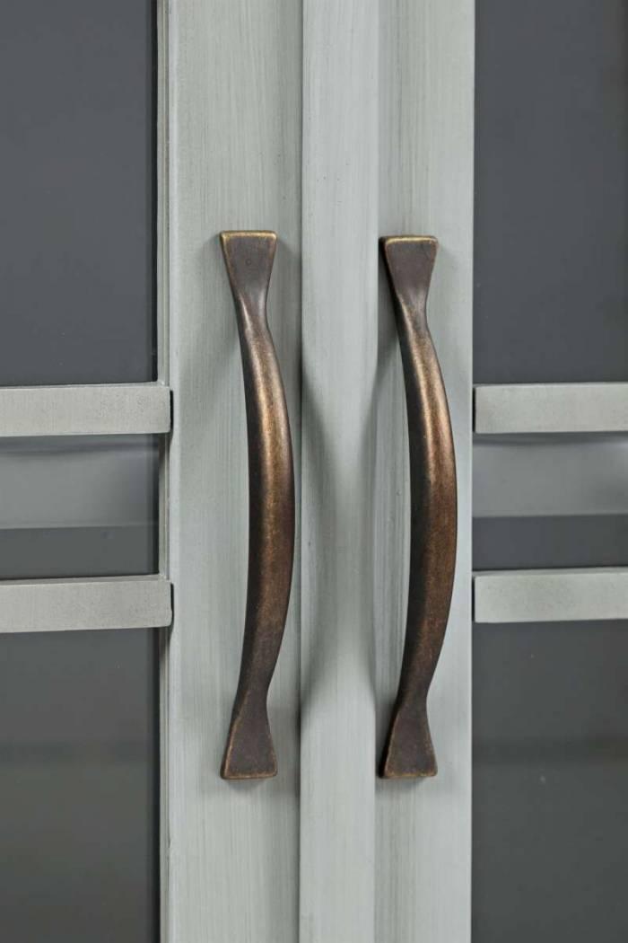 Comodă cu sertar și două uși Karan, 82x82x38 cm, lemn de acacia/ mdf, gri