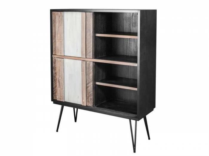 Comodă înaltă cu două uși și patru rafturi Beth, 140x110x40 cm, lemn de acacia/ mdf/ metal, gri/ negru
