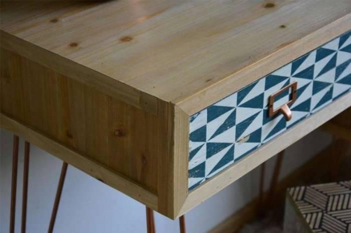 Consolă cu două sertare Amiee multicolor, 78x80x40 cm, lemn de brad/ metal, maro deschis/ verde/ albastru/ alb
