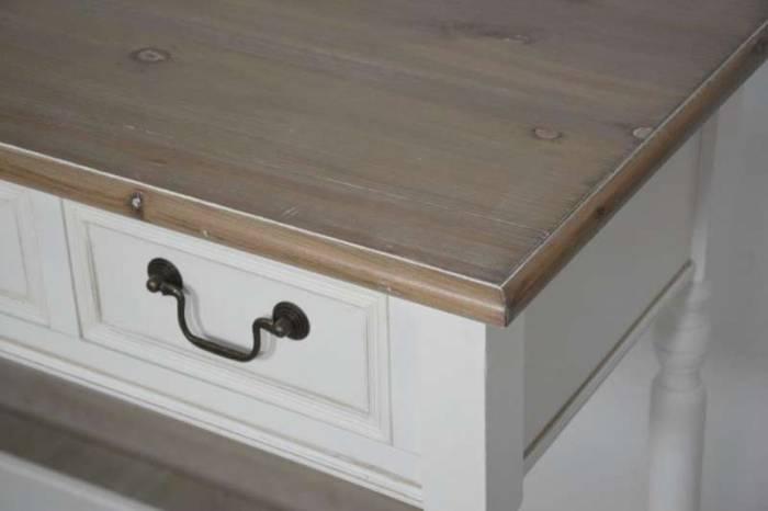 Consolă cu raft și patru sertare Berenice, 79x122x41 cm, lemn de plop/ mdf/ metal, alb/ maro