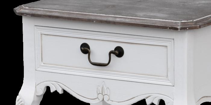 Consolă cu sertar și rafturi Berenice, 94x49x36 cm, lemn de plop/ mdf, alb/ maro