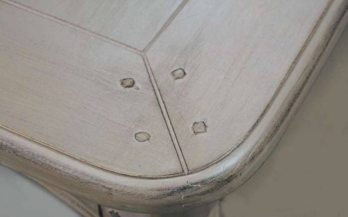 Consolă cu trei sertare Dominica , 80x110x47 cm, lemn de mesteacan/ metal, bej