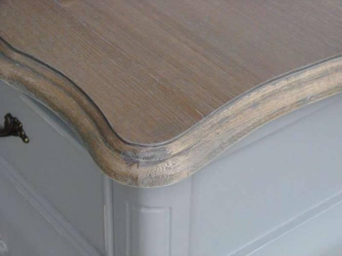 Consolă cu trei sertare Gina , 80x110x40 cm, lemn de plop/ mdf/ metal, gri/ maro deschis