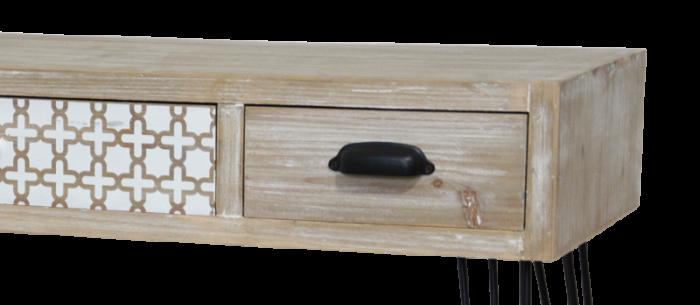 Consolă cu trei sertare Hilaria, 80x110x41 cm, lemn de plop/ mdf/ metal, maro deschis