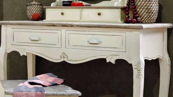 Consolă stil clasic cu două sertare Adelaida, 78x90x40 cm, lemn de plop/ mdf/ metal, crem/ maro deschis